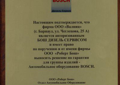 Свидетельство BOSCH Дизель Сервис 2009